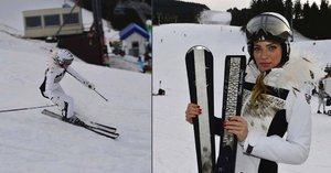 Sexy Andrea Verešová zahájila sezonu ve Špindlu lyžemi zdobenými pštrosím peřím!