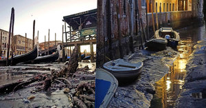 Romantika v bahně: Benátky sužuje nedostatek vody! Gondoly se válí na dně kanálů