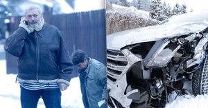 Daniel Hůlka boural s autem: Havárie na sněhu!
