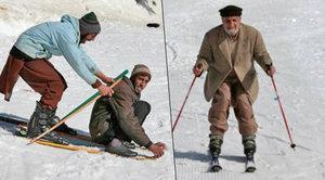 Lyžování v pákistánském »Švýcarsku«: V saku, na lyžích z muzea a s kvéry za pasem!