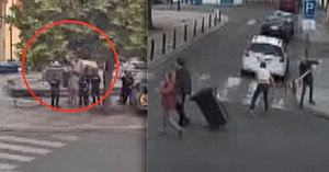 Šílení turisté! Z ulice sebrali dopravní značky, v kašně se s nimi chtěli vykoupat