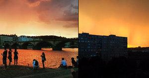 Nebe nad Prahou vypadalo jako brána do pekla: Co způsobilo ohnivé červánky?
