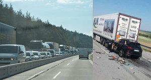 Nehody blokují D1: Jeden člověk zemřel, tvoří se dlouhé kolony
