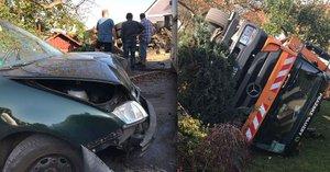 Na Bílé Hoře se převrátil vůz popelářů. Jeho řidič byl pod vlivem drog