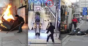 Šílenství v ulicích Brna: Uprchlý a zdrogovaný vězeň (34) zapálil popelnici a pak skočil z 1. patra!