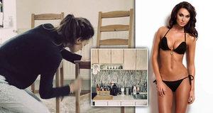 Bučková jako hodinová manželka: Místo modelingu tapetuje a natírá starý stůl