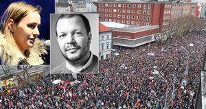 """""""Třásla se a plakala."""" Po vraždě Kuciaka dojala demonstrující Slováky jeho sestra"""