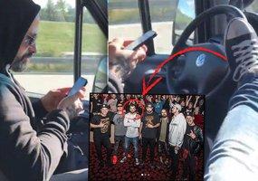 Zbláznil se? Rapper Marpo riskuje na dálnici! Volant držel nohou, řidič si psal na mobilu!