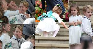 Rozjívená princátka rozesmála svatbu Eugenie: George blbnul při obřadu, Charlotte odfoukl vítr