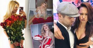 Valentýn u slavných nekončí: Borhyová bojovala s jídlem, Vémolova prsatice s nahotou...