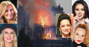 Bílá, Pazderková, Krainová a další v slzách! České celebrity zasáhl požár Notre-Damu