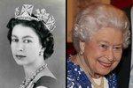 Alžběta v roce 1957, čtyři roky po korunovaci, a nyní, v únoru 2017.