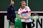 Karolína Plíšková odehrává míč během tréninku českého fedcupového týmu