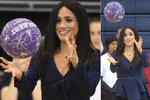 Vévodkyně Meghan na tělocviku? S míčem si hrála na podpatcích a v drahé halence!
