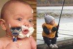 Otec nafotil svého dvouměsíčního syna při chlapských pracích.