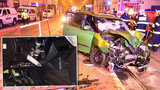 Řidič v Praze naboural do zábradlí: Tyč mu projela autem až do nohy