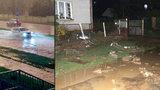 Nad Českem burácely bouřky: Bořily zdi, braly poklopy kanálů a zatopily ulice