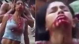 Děsivé vymítání ďábla: Žena se svíjí v křeči a plive krev