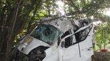 Dodávka u Kroměříže vletěla do stromu: Spolujezdec nepřežil