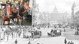 Nástup koňky v Praze: Odpůrci jí najížděli do cesty a kladli na koleje patrony