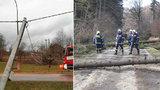 Lidé bez proudu, zničené střechy i problémy s dopravou: Vítr ochromil Česko