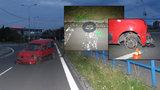 To byla jízda! Opilec odrovnal auto, ulice a chodníky Ostravy brázdil bez pneumatiky
