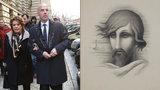 První foto podvodného bankéře Pokludy: Bohdalovou na pohřbu podpíral, za zády ji okrádal