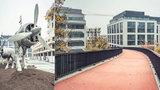 """Waltrovka má nové náměstí a lávku k metru: Zdobí je jedinečné sochy a červený """"koberec"""""""