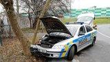 Ve Strašnicích se vybourali policisté: Autem vletěli do stromu