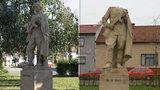 Vandalové ve Šlapanicích: Rudoarmějci urazili hlavu a pohodili ji v parku