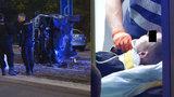 VIDEO: Dramatická honička v Karlíně: Padouch převrátil kradené auto na bok, policisté museli střílet