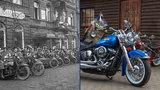 Harleye se sjíždějí jako za první republiky: Už tehdy burácející stroje fascinovaly veřejnost