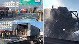 Dálnice D1 na Prahu uzavřena! Řidiče kamionu před uhořením zachránil policista
