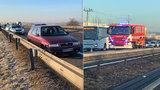 Hromadná nehoda uzavřela dálnici D10: V druhém směru jelo auto v protisměru