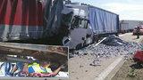 Hromadné nehody kamionů ucpaly D2: Policisté vyrazili den poté na velké kontroly řidičů