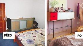 Proměna ložnice: Zmizela tmavá tapeta, fialovou vystřídala zlatá barva