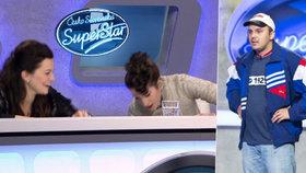 SuperStar: Jandová a Vytisková pod stolem. Odrovnal je Dodo z Dojča