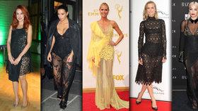 Krajky hýbou světem celebrit: Kdo odhaluje své tělo v sexy průhledných šatičkách?