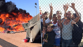 Uprchlíci rozpoutali peklo: Nechtějí je pustit do Anglie, tak podpálili tábor