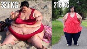 Megabacule se vyjedla na 327 kilo, ale podařilo se jí zhubnout na 216 kg!