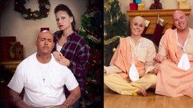 Šťastné a trapné! Pár tvoří každoročně vánoční pohlednice, ze kterých se potrháte smíchy