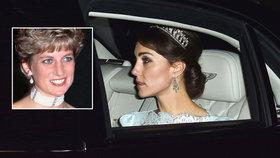 Vévodkyně Kate: Na společenskou recepci vyrazila s čelenkou, která patřila princezně Dianě