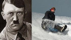 Němec s hitlerovským knírkem zbil sáňkující běžence helmou s hákovým křížem. Pak hajloval