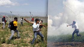 Migranti házeli kamení a chtěli přes hranice. Makedonci odpověděli slzným plynem