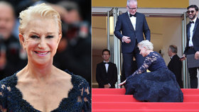 Ach, ty podpatky: Helen Mirren se v Cannes natáhla přímo na rudém koberci