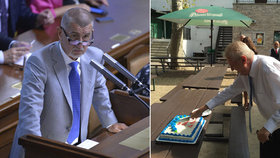 """Anti-Babiše asi podepíšu, řekl Zeman v USA a """"zapíchl"""" narozeninový dort"""