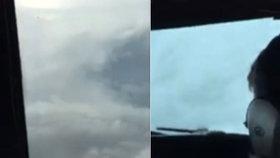 Podívejte se do obřího hurikánu: Letadlo vlétlo do oka cyklonu Matthew