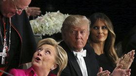 Po špinavé debatě v těsné blízkosti: Trump a Clintonová se špičkovali u večeře