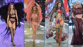 """Největší přehlídka """"andílků"""": Podprsenka za 80 mega, těhotná Irina Shayk na mole a svůdné Gigi, Alessandra a Adriana"""