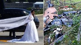 Nevěsta zemřela jen několik set metrů od oltáře, zřítila se s ní helikoptéra